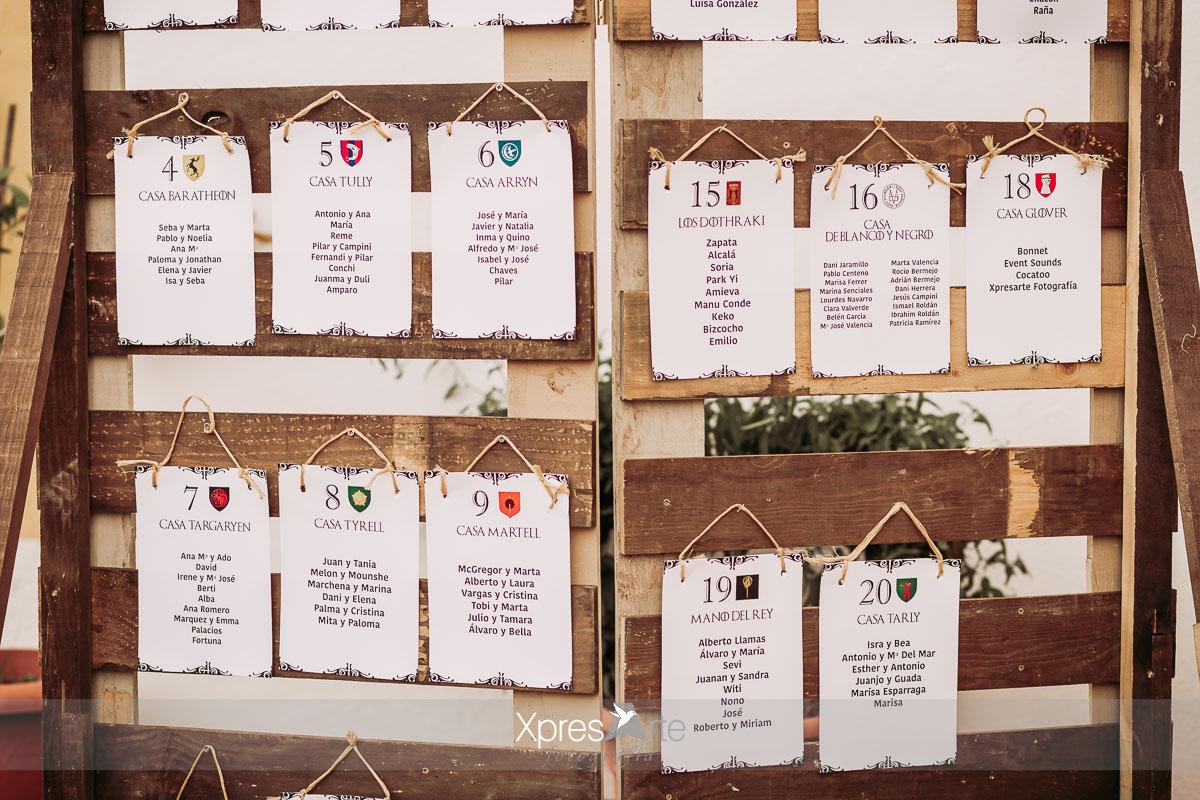 Seating plan juego de tronos para bodas